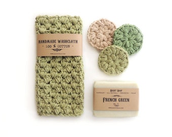 Gift set Mens Gifts Womens Gift Birthday Gift for Him Soap Set Washcloth Face Scrubbies Gift for Her Homemade soap