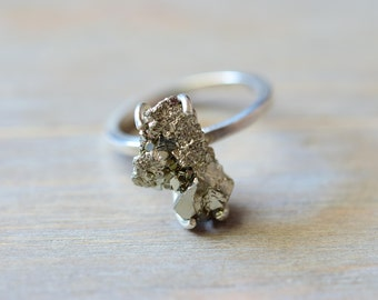 Pyrite Ring. Raw Rough Fools Gold Sterling Silver Ring. Boho Rustic Pyrite Jewelry. Rough Stone Statement Ring. Fools Gold Jewelry