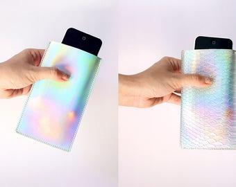 Holographic Sleeve / iPhone sleeve, phone sleeve, iridescent sleeve, faux leather
