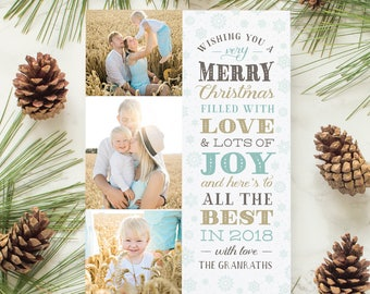 Christmas Photo Card with Gold Foil Personalized Christmas