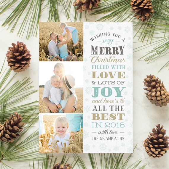 Christmas Card with Multi Photo Layout, Typographic Lettering Holiday Cards, Christmas Greeting Card with Family Photos   Snowflake Stack