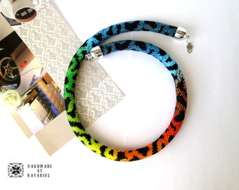 Bead Crochet Necklace Cheetah rainbow bright color animal print evening black red blue green yellow for her