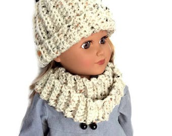 18 Inch Doll Hat and Scarf, Aran Fleck, Off White Crocheted Doll Hat and Infinity Scarf, Fits 18 Inch Dolls, Winter Doll Clothes