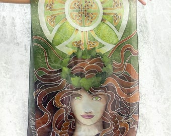 Silk Scarf - Celtic Tree of Life scarf - hand painted scarf - long scarf - celtic scarf - silk scarves - dark green scarf - celtic knot