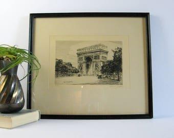 L'Arc de Triomphe, Paris Cityscape Print - Signed Paul Jeffrey Etching - Vintage Framed Art - Black and White Art - French Street Scene