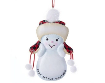 FREE SHIPPING Best Little BrotherPersonalized Christmas Ornament / Brother Ornament / Snowman / New Baby / Hand Personalized