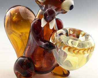 Ice Squirrel Glass Tobacco Pipe - H*096