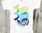 Personalized clothing for babies and kids by shoppicadilly on etsy baby boy happy first mothers day onesie personalized mothers day gift from baby boy whale onesie negle Images