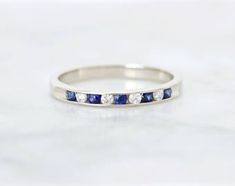 Blue Sapphire Wedding Ring | Thin 14k White Gold Diamond Wedding Band | September Birthstone | Estate Jewelry | Anniversary Ring | Size 7