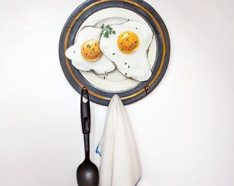 The Hanger FRIED EGGS, Wall Key Holder, Illustration on Wood, Wall Decor, Kitchen Tool Hanger, Gift for Man, Gift for Cook, Valentine's gift