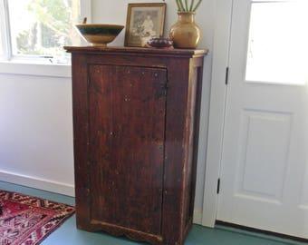 Primitive Jelly Cupboard 1800s Rustic Farmhouse Wood Cabinet