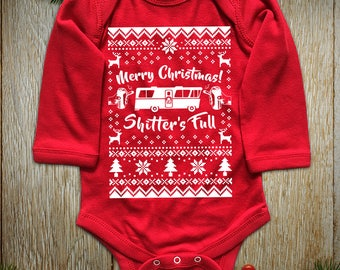 """New """"Merry Christmas Shitter's Full"""" Unisex Long Sleeved Onesie & Toddler T-Shirts for Christmas Party, Thanksgiving Family Party"""