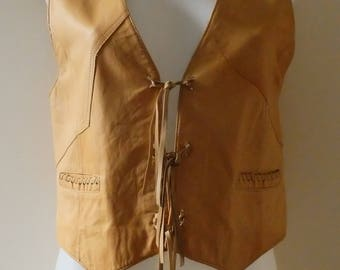 Vintage FRIITALA - Women's Leather Waistcoat - Made in Finland - 100% Leather & Viscose