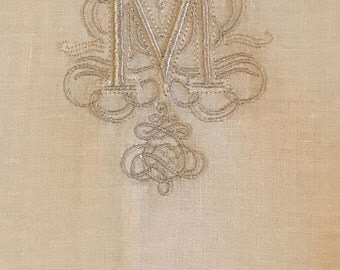 """Embroidered """"M"""" Monogram Guest Towels with Hem stitch Border"""