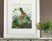 Image of Cute gift for her Cabbage patch rabbit 3 Cute decor Cute wall decor Cute print Woodland creatures Bunny rabbit Wall art on canvas
