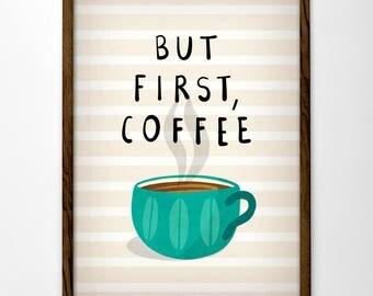 But first coffee print. Red Coffee print Coffee poster Coffee art But first coffee poster Red Kitchen art Kitchen decor red kitchen print