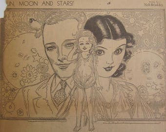 Original 1930's Newspaper Clipping - Sun, Moon And Stars By Nell Brinkley
