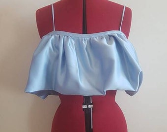 Esme Top in Ice Blue Silk