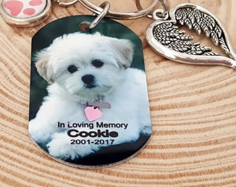 Pet Memorial Color Photo Key Chain with a Paw Print Charm and Double Wing Heart Charm | Completely Customize-able