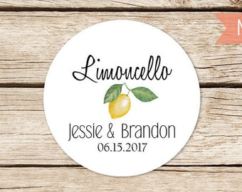 Limoncello Labels, Limoncello Favor Labels, Personalized Wedding Stickers, Round Thank You Favor Stickers