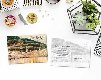 Digital Printable Set Save the Date Postcard Destination Wedding Bergen Norway Europe Watercolor Wedding Invitation Map Card ID840