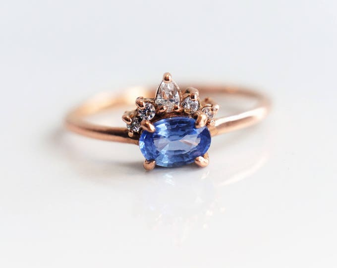 Olina - Oval Blue Sapphire 14k or 18k ,Morganite Crown Ring, VS Diamond Sapphire Ring, Unique Sapphire Engagement Ring