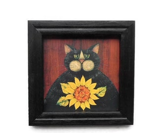 Primitive Kitty, Sunflower, Art Print, Primitive Decor, Country Decor, Wall Hanging, Handmade, 8x8, Real Wood Frame, Made in the USA