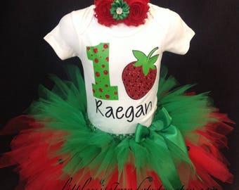 Strawberry Tutu Skirt Set, Strawberry Birthday Outfit, Strawberry Cake Smash Tutu, Strawberry Costume, Strawberry Birthday Tutu Shirt Set