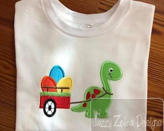 Dinosaur pulling cart of Easter eggs appliqué embroidery design - Dinosaur appliqué design - Easter appliqué design - Easter eggs appliqué