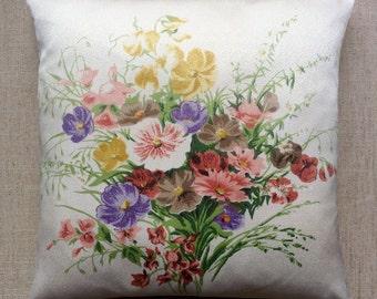 Vintage Floral 1940s Fabric Cushion With Interior 40cmx40cm