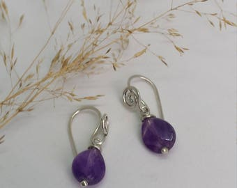 Sterling Silver Spiral Earrings with Amethyst Drops