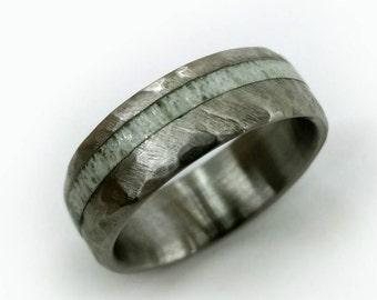 Hammered Antler Ring, Elk Antler Ring, Hammered Titanium Ring, Wedding Ring, Engagement Ring, Natural Ring, Shed Antler, Elk Jewelry
