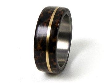 Palm Tree Ring, Black Palm Ring, Gold Titanium Ring, Wood Titanium Ring, Wedding Ring, Engagement Ring, Wedding Band, Engagement Band