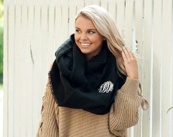 Black Monogrammed Londyn Infinity Scarf, Womens Monogram Scarf, Personalized Scarf, Embroidered Scarf, Valentine's Gift, Gift For Her