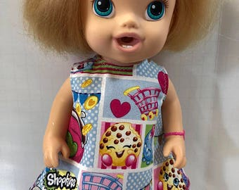 "BABY ALIVE 12 inch Doll Clothes, Cute ""SHOPKINS"" - Shopkins Party Dress, 12 inch Baby Alive Doll Clothes, Kooky Cookie, Strawberry Kiss"