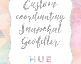 custom snapchat geofilter made to coordinate with any invitation from hue invitations, custom coordinating snapchat filte