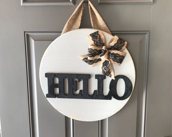 Hello Door Hanger, Wood Door Sign, Front Door Decor, Hello Door Sign, Housewarming Gift, Anniversary Gift, All Year Door Hanger, Door Wreath