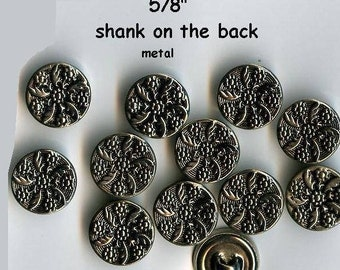 "12 Metal 5/8"" Vintage Celtic Flower Shank Buttons Antique Silver 15mm- Costumes School Plays Medieval Clothing Renaissance Faire Clothing"