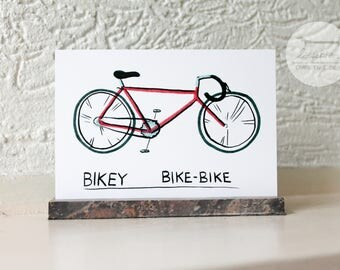 Bikey Bike-Bike - A6 postcard / Red racing bike illustration