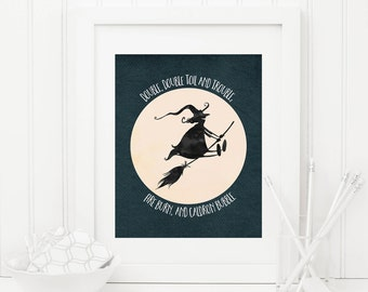 Double Double Toil and Trouble Printable Halloween Decor Witch Prints Halloween Quote Prints Halloween Decoration Halloween Wall Art Moon