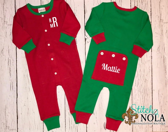 Pre-Order Christmas Pajamas, Christmas Rompers, One Piece Sleeper, One Piece Pajamas, Christmas Bodysuit, Faux Drop Seat Romper, Faux Drop