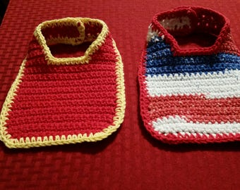"BABY THEME CLOTHING, Crocheted Set of Two, Made w/ Lily's Sugar and Cream Cotton Yarn, 5"" length, 5.5"" width, 6"" straps and button closure.*"