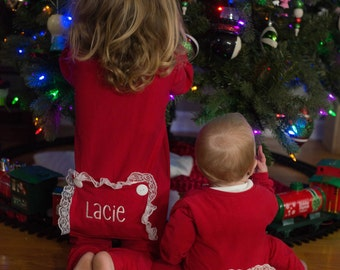Christmas Day Little Girl's Personalized Long John Pajamas with Bottom Flap/ Jammies for Valentines/ PJs