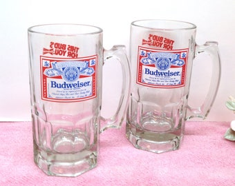 """BUDWEISER BEER MUGS are a Set of Two 8"""" Very Thick & Heavy Clear Glass """"This Bud's for You"""" Beer Steins- Official Products of Anheuser-Busch"""