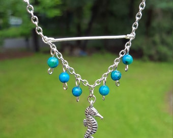 Seahorse Choker Necklace - Green Beads - Silver Plated - Different Silver Charms Available