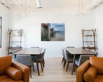 Overcast Beach Photography / Print on Metal / Aluminum Wall Art / Shadow Mounted Easy Hang / Beach House Wall Art