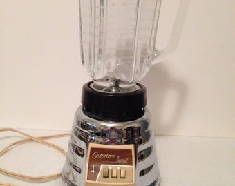 Vintage Osterizer Imperial Chrome Beehive Blender, Model 458-A, Glass 4 Cup Jar, John Oster MFG. Co., Made In USA, Works Great