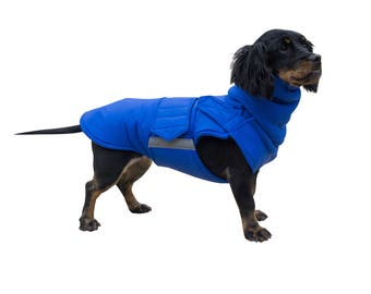 Extra Warm Winter Dog Coat - Dog Jacket with neck warmer and full belly cover - Waterproof / Fleece dog clothes - MADE TO ORDER