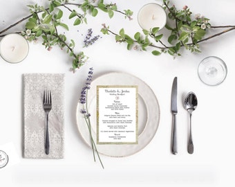 Vintage Map menu card x 10 - wedding breakfast - A6 double sided menu card - eat drink and be married - vintage wedding - menu -