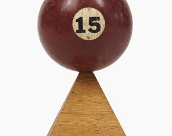 "No. 15 Pool Ball Miniature Clay Billiard Ball Size 1 5/8"" Fifteen XV Solid Solids"